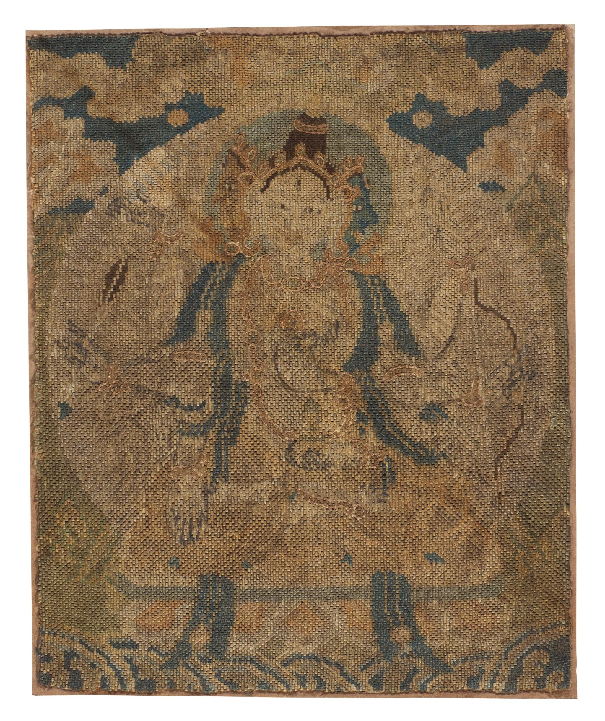 View full screen - View 1 of Lot 26. A RARE WOVEN AND EMBROIDERED SILK BUDDHIST FRAGMENT,  LATE MING DYNASTY   晚明 織繡尊勝佛母.