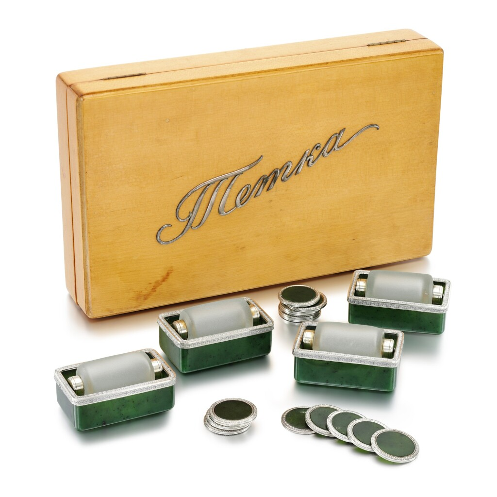 A RARE FABERGÉ SILVER-MOUNTED NEPHRITE GAMING SET, WORKMASTER ANDERS (ANTTI) NEVALAINEN, ST PETERSBURG, 1899-1903