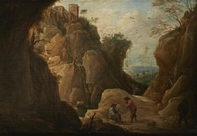 View 1. Thumbnail of Lot 239. DAVID TENIERS THE YOUNGER   MOUNTAIN LANDSCAPE WITH TRAVELLERS.