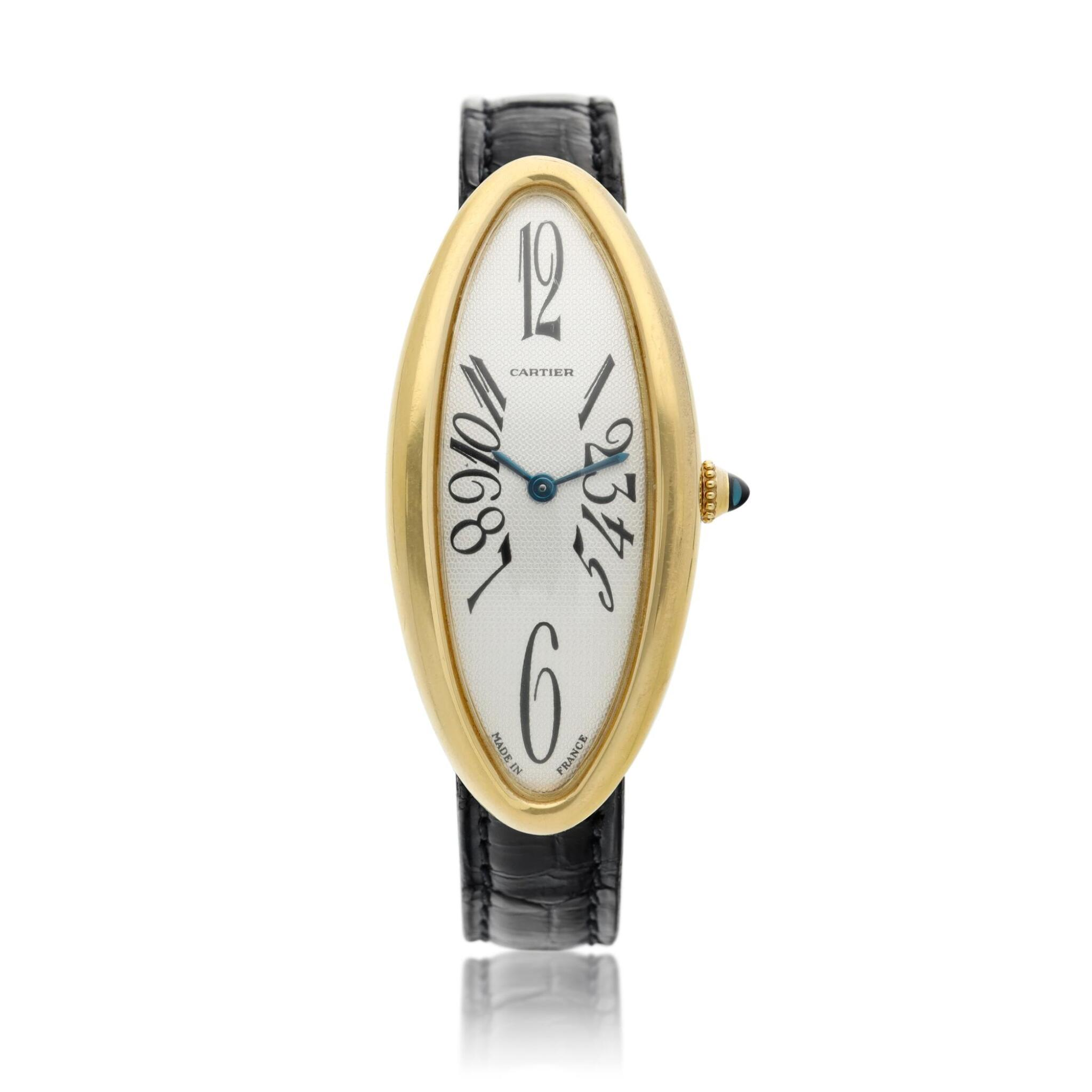 View full screen - View 1 of Lot 93. Reference 2605 Baignoire Allongee  A large yellow gold oval wristwatch, Circa 2005.