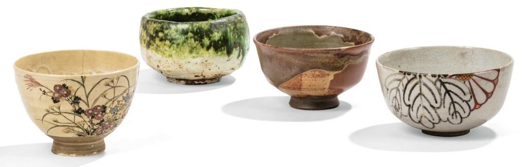 ENSEMBLE DE QUATRE CHAWAN [BOL À THÉ] EN GRÈS ÉMAILLÉ JAPON, ÉPOQUE MEIJI | A group of four chawan [tea bowl], Japan, Meiji period