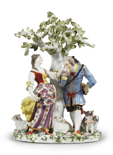 View 2. Thumbnail of Lot 232. A MEISSEN FIGURE GROUP, 'THE HAND KISS' CIRCA 1738-40.