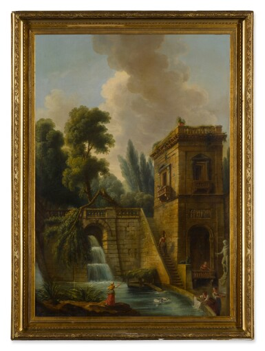 View 3. Thumbnail of Lot 77. View of a grand waterfall in Tivoli, with washerwomen in the foreground.