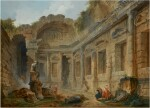 HUBERT ROBERT | THE TEMPLE OF DIANA AT NIMES WITH FIGURES IN THE FOREGROUND INCLUDING AN ARTIST SKETCHING