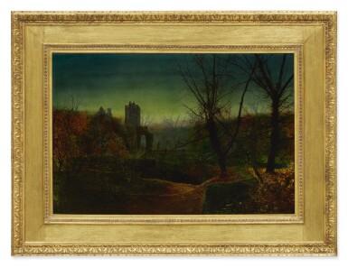View 2. Thumbnail of Lot 5. JOHN ATKINSON GRIMSHAW | KNOSTROP OLD HALL AT DUSK.