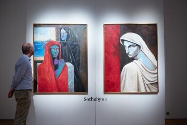 """View 4. Thumbnail of Lot 28. JEAN COCTEAU. Portrait d'une tragédienne. Huile sur toile, signée """"J"""" et datée 51 en bas à gauche. 146 x 114 cm."""