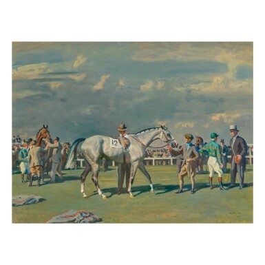 SIR ALFRED JAMES MUNNINGS, P.R.A., R.W.S. | MAHMOUD BEING SADDLED FOR THE DERBY, 1936