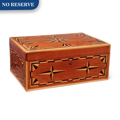 English Marquetry Mahogany Work Box, circa 1850