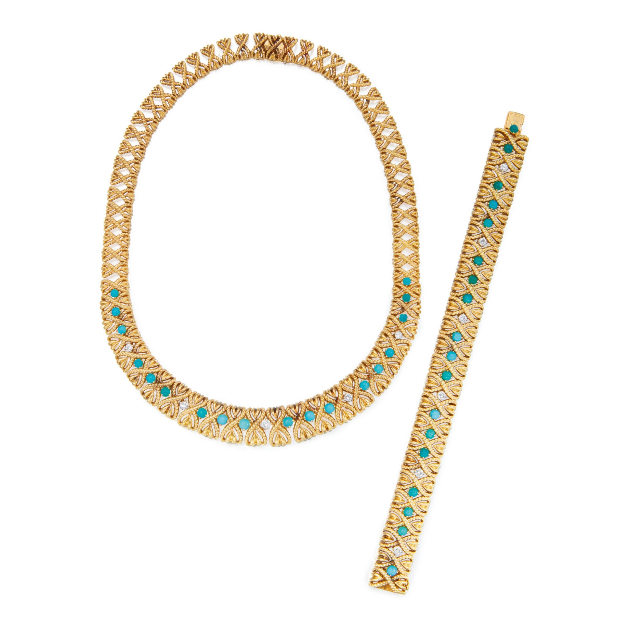 View full screen - View 1 of Lot 292. GOLD, TURQUOISE AND DIAMOND NECKLACE AND BRACELET, VAN CLEEF & ARPELS, FRANCE.