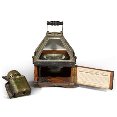 View 2. Thumbnail of Lot 48. The Compass from the Duke of Hamilton's Steam Yacht Thistle, A brass and mahogany boat compass, Dent & Co., London, circa 1892.