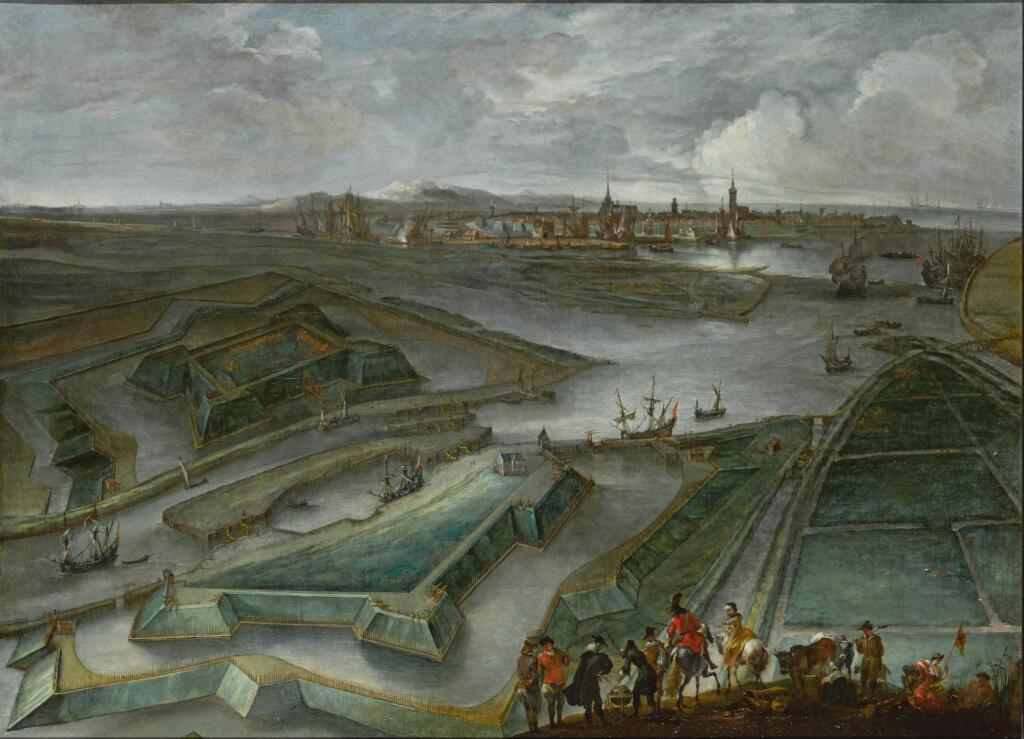 HENDRIK VAN MINDERHOUT | An aerial view of Ostend, with the Fort Saint Philippe and shipping on the Slijkens Sluice, and figures in the foreground
