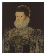 CIRCLE OF GEORGE GOWER   PORTRAIT OF A LADY, HALF-LENGTH, IN AN ELABORATE DRESS AND COLLAR
