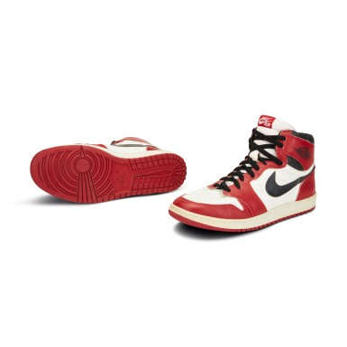 View 2. Thumbnail of Lot 803. Michael Jordan Game Worn 1985 Player Sample Air Jordan 1s | Sizes 13, 13.5.
