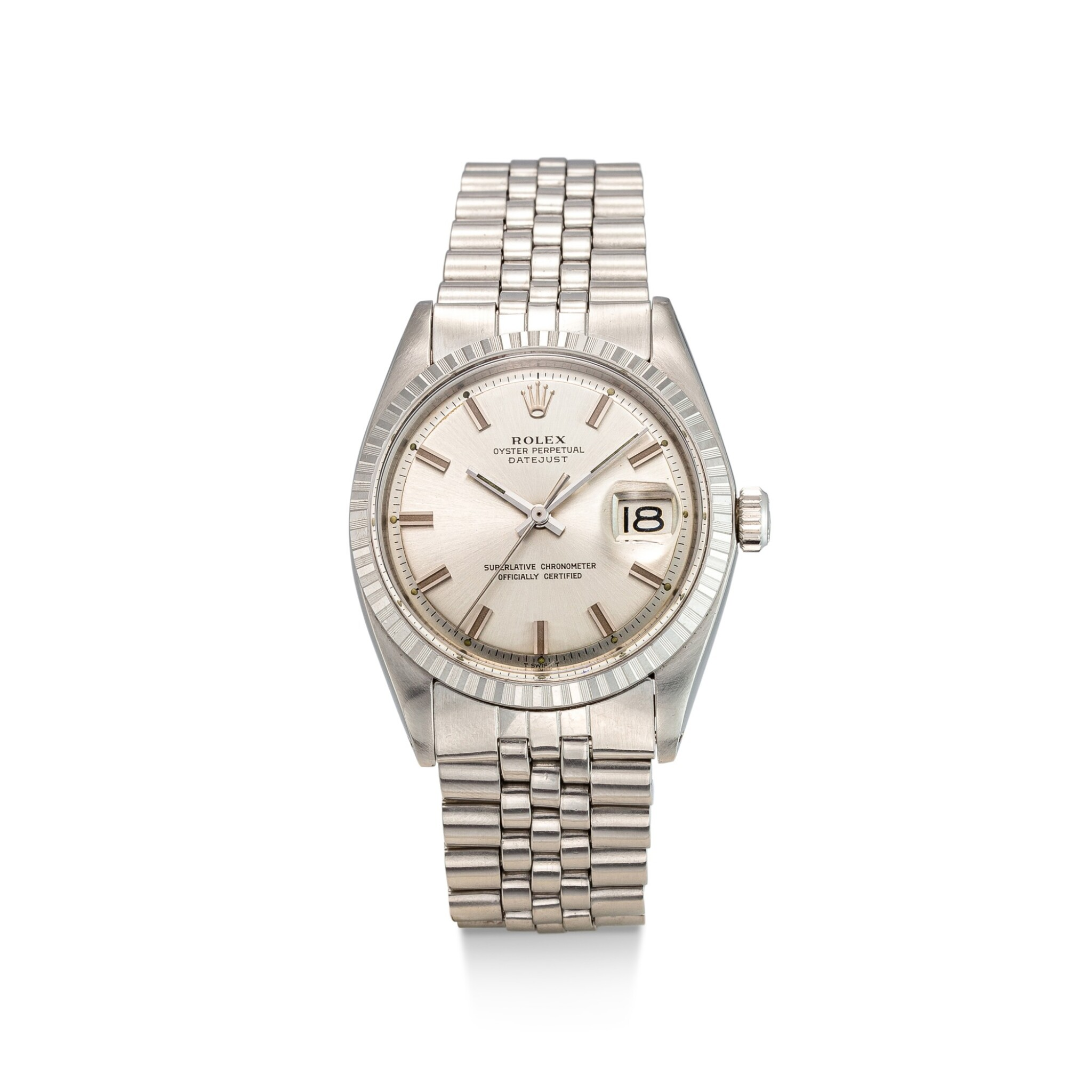 View full screen - View 1 of Lot 8033. ROLEX | DATEJUST, REFERENCE 1603 | A STAINLESS STEEL WRISTWATCH WITH DATE AND BRACELET, CIRCA 1971 | 勞力士 | Datejust 型號1603 精鋼鏈帶腕錶,備日期顯示,約1971年製.