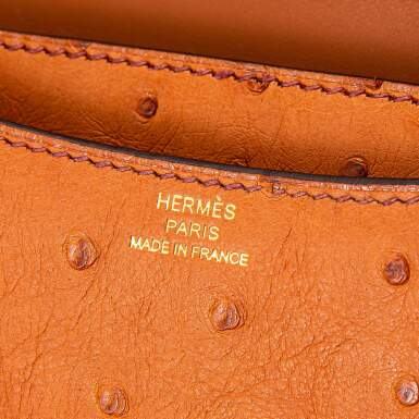 View 8. Thumbnail of Lot 8512. Cognac Constance Mini in Ostrich Leather with Gold Hardware, 2020.