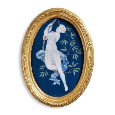 A WEDGWOOD PÂTE-SUR-PÂTE BLUE-GROUND OVAL PLAQUE DATED 1879