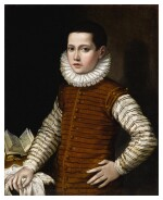 GERVASIO GATTI  |  PORTRAIT OF A BOY IN STRIPED DOUBLET AND WHITE RUFF, HIS LEFT ARM ON HIS HIP AND RIGHT RESTING ON A TABLE WITH AN OPEN BOOK, HALF-LENGTH