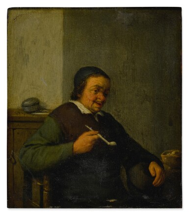 A man smoking in an interior; A woman holding a jug and a cup