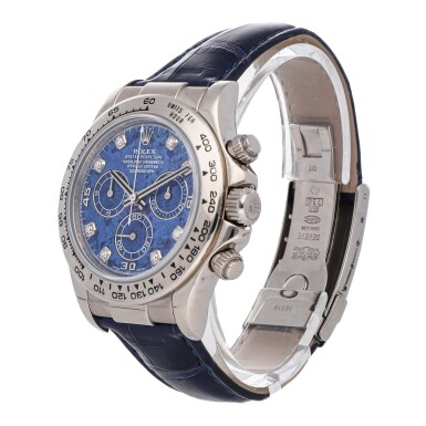 View 2. Thumbnail of Lot 464. ROLEX   DAYTONA REF 116519, A WHITE GOLD AUTOMATIC CHRONOGRAPH WRISTWATCH WITH SODALITE AND DIAMOND-SET DIAL CIRCA 2004     .