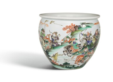 View 3. Thumbnail of Lot 15. A WELL PAINTED FAMILLE-VERTE 'WATER MARGIN' JARDINIERE, QING DYNASTY, KANGXI PERIOD   清康熙 五彩水滸傳故事圖缸.