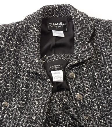 View 3. Thumbnail of Lot 124. Black and white wool ensemble.