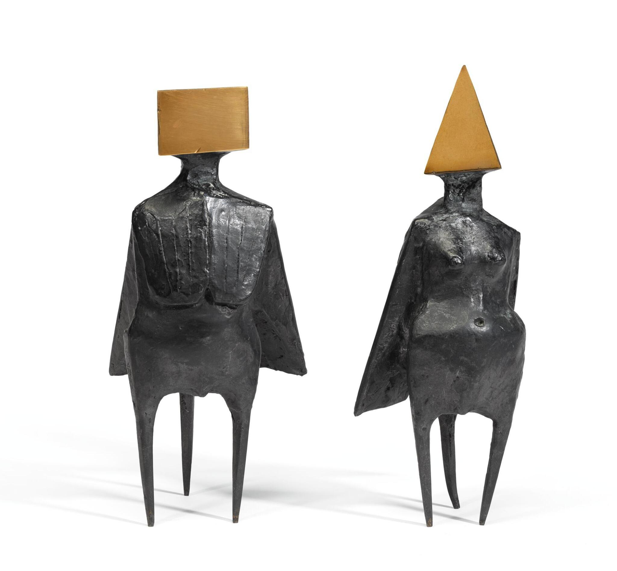 View full screen - View 1 of Lot 246. LYNN CHADWICK, R.A. | PAIR OF STANDING FIGURES.