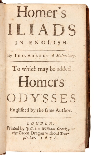 View 1. Thumbnail of Lot 147. Homer, Iliads and Odysses, translated by Hobbes, London, 1676, contemporary calf.