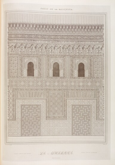 View 5. Thumbnail of Lot 153. Jones and Goury. Plans, elevations, sections, and details of the Alhambra. 1842-1845, 2 volumes, folio, half cloth.