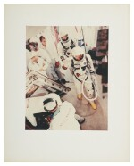 """[GEMINI 5] VINTAGE CHROMOGENIC PRINT OF GORDON COOPER AND CHARLES """"PETE"""" CONRAD SUITED UP, 21 AUGUST 1965."""