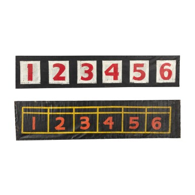 TWO PAINTED NUMBER SIGNS 1-6