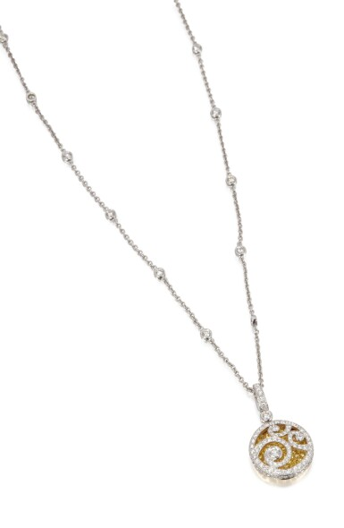 View 2. Thumbnail of Lot 64. DIAMOND AND COLORED DIAMOND PENDANT-NECKLACE, GRAFF.