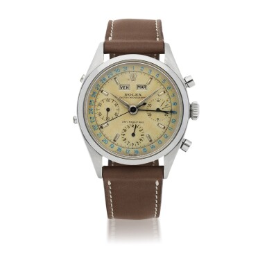 View 1. Thumbnail of Lot 18. 'JEAN-CLAUDE KILLY' DATO-COMPAX, REF 6236 STAINLESS STEEL TRIPLE CALENDAR CHRONOGRAPH WRISTWATCH CIRCA 1958 [勞力士6236型號「'JEAN-CLAUDE KILLY' DATO-COMPAX」精鋼全日曆計時腕錶,年份約1958].