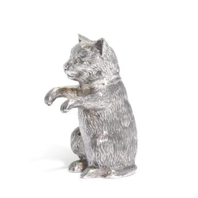 View 2. Thumbnail of Lot 27. An Elizabeth II silver caster in the form of a cat, Edward Barnard & Sons Ltd., London, 1962.