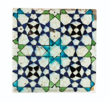 View 9. Thumbnail of Lot 130. A Group of Four Ottoman Iznik and Damascus Pottery Tiles, Turkey and Syria, 16th and 17th Centuries.