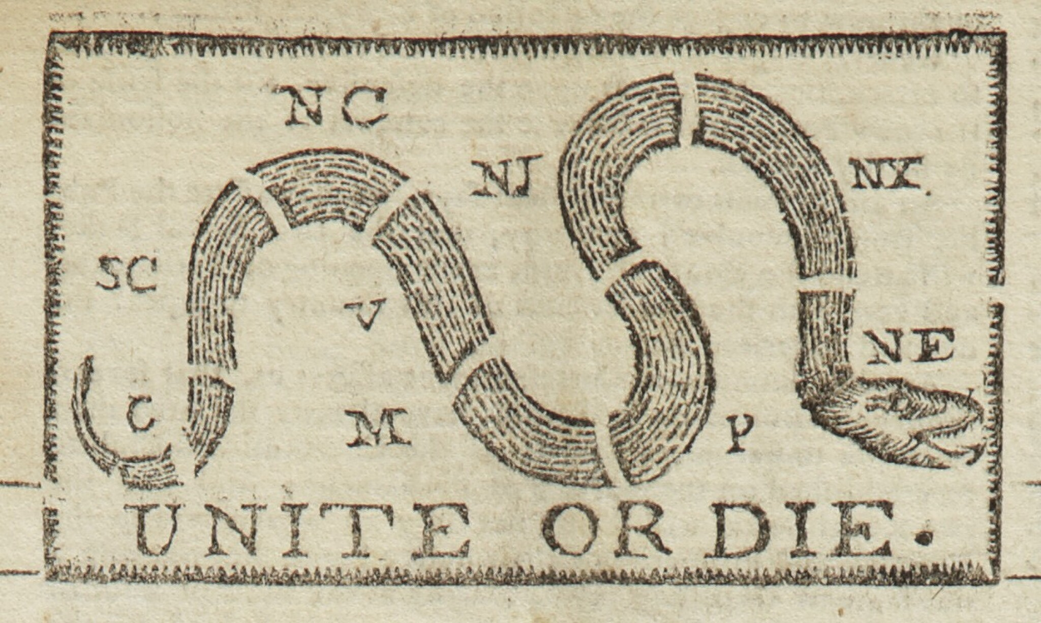 """View full screen - View 1 of Lot 3. (AMERICAN REVOLUTION)   """"Unite or Die"""" political cartoon in the masthead ofThe Pennsylvania Journal; and the Weekly Advertiser, No. 1675. Philadelphia: Printed and Sold by William and Thomas Bradford, Wednesday, January 11, 1775."""