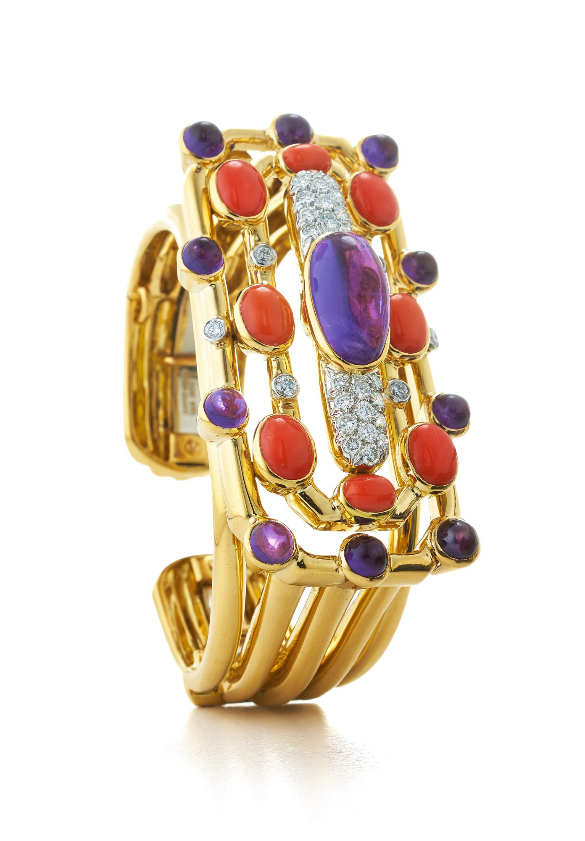 View full screen - View 1 of Lot 29.  DAVID WEBB | GOLD, CORAL, AMETHYST AND DIAMOND CUFF-BRACELET.