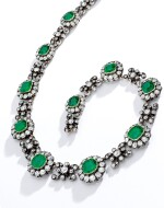 EMERALD AND DIAMOND NECKLACE, CIRCA 1860
