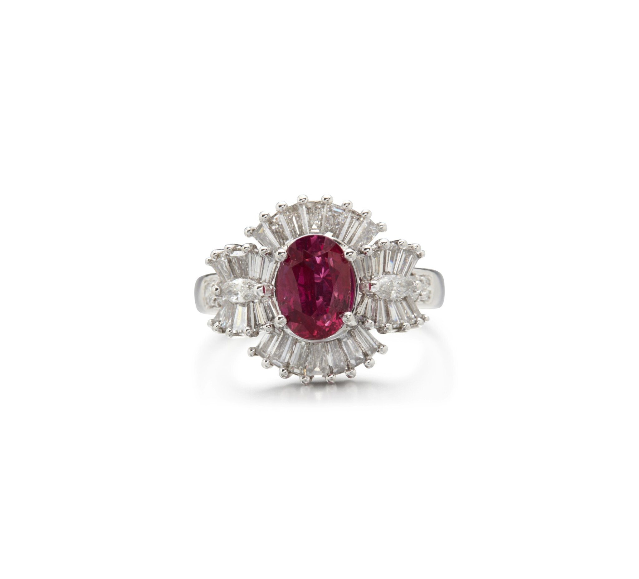 View full screen - View 1 of Lot 55. RUBY AND DIAMOND RING.