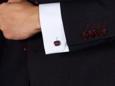 View 4. Thumbnail of Lot 1030. Pair of Ruby and Diamond Cufflinks   格拉夫  紅寶石 配 鑽石 袖扣一對 (紅寶石共重約3.70克拉).