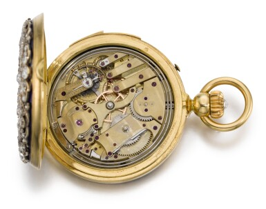 View 4. Thumbnail of Lot 26. SWISS  [ 瑞士製]    A GOLD AND ENAMEL HUNTING CASED MINUTE REPEATING KEYLESS LEVER WATCH WITH AMERICAN EAGLE AND CRESCENT STAR MOTIFS  CIRCA 1865, NO. 17738  [ 黃金畫琺瑯三問懷錶飾美國鷹及星月主題圖案,年份約1865,編號17738].
