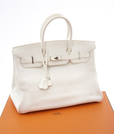 White leather and palladium hardware, Birkin 35, Hermès, 2002