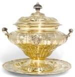 A LARGE GERMAN SILVER-GILT TWO HANDLED SOUP TUREEN, COVER, AND STAND, GOTTLIEB MENTZEL, AUGSBURG, CIRCA 1711-15