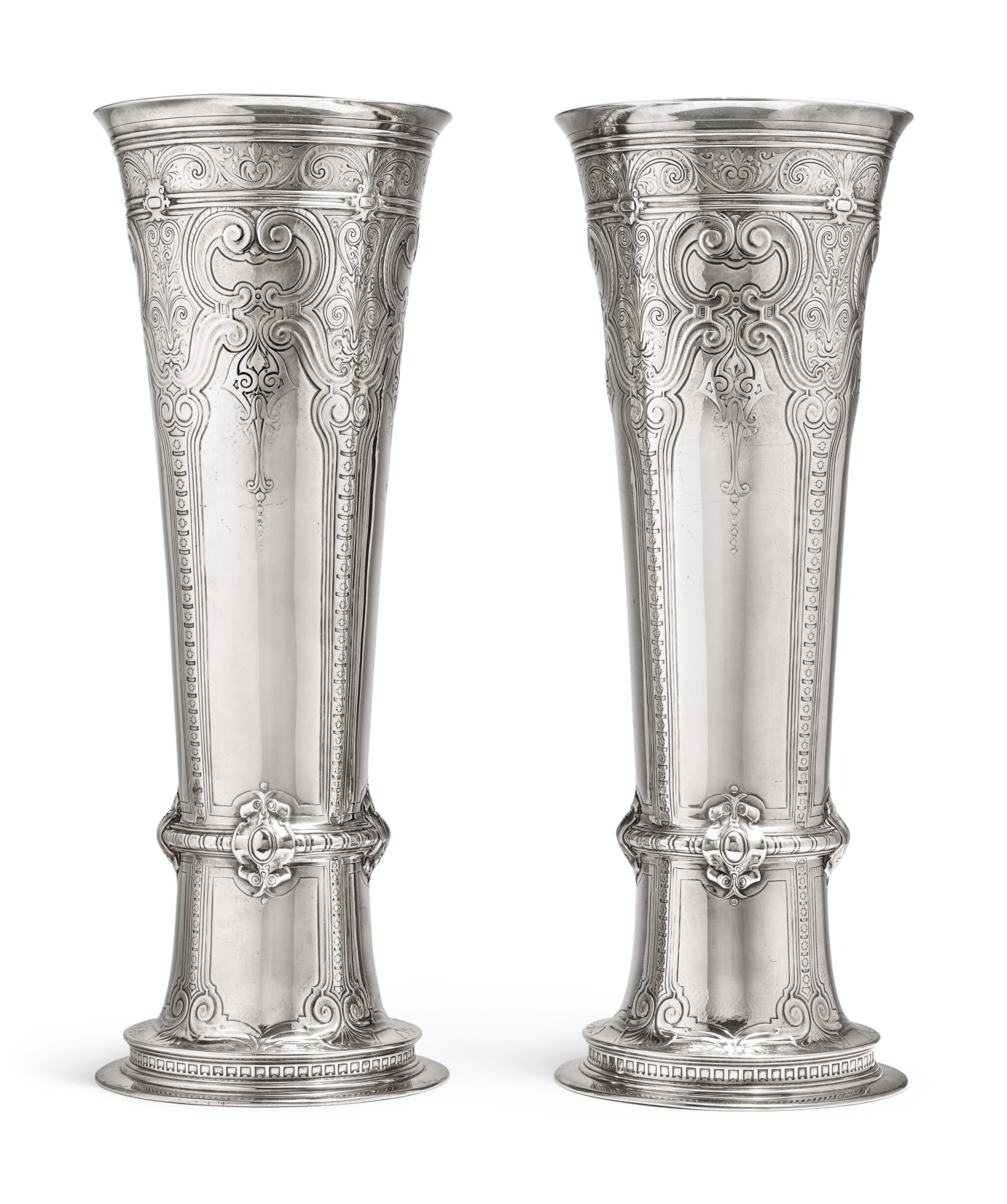 View full screen - View 1 of Lot 431. A Massive Pair of American Silver Tall Vases, Tiffany & Co., New York, circa 1909.