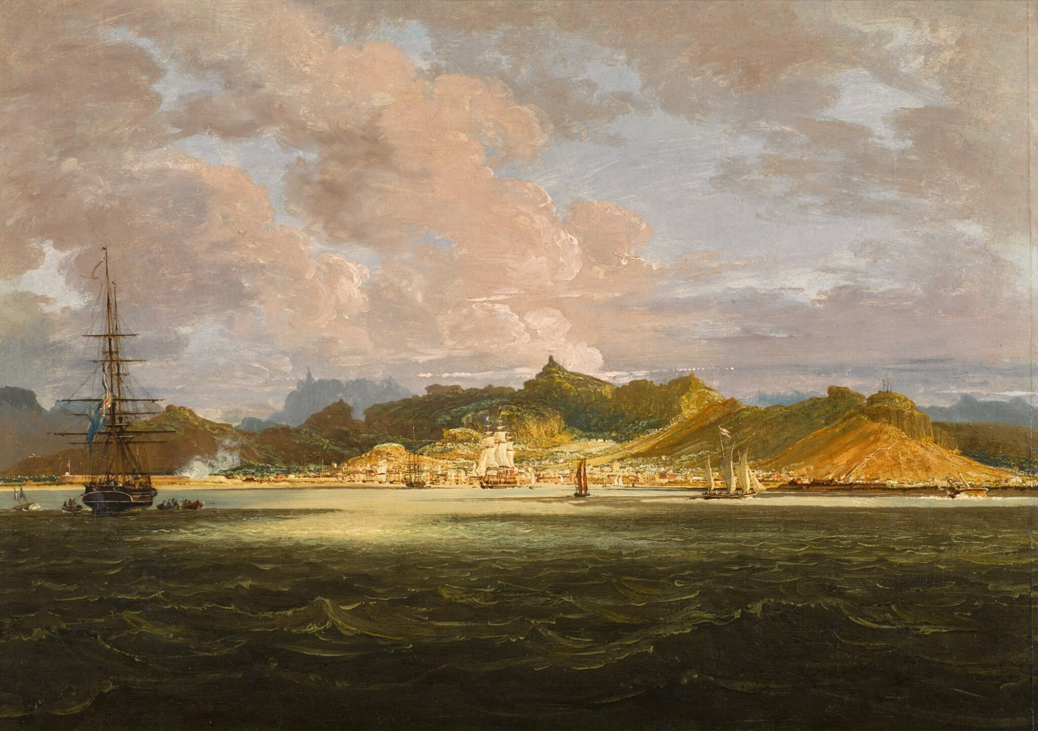 View full screen - View 1 of Lot 49. View of Port Louis, Mauritius from the sea   《海中眺望毛里求斯路易港》.