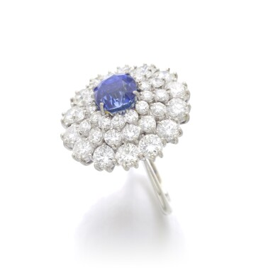 View 2. Thumbnail of Lot 99. SAPPHIRE AND DIAMOND RING.
