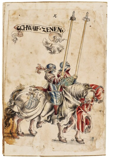 WORKSHOP OF HANS BURGKMAIR THE ELDER | A 'TOURNAMENT BOOK', WITH 16 NUMBERED SHEETS OF DRAWINGS OF KNIGHTS, MOSTLY ON HORSEBACK, IN PAIRS