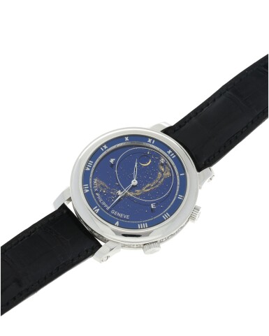 View 7. Thumbnail of Lot 178. REFERENCE 5102G-001 CELESTIAL A WHITE GOLD AUTOMATIC ASTRONOMICAL WRISTWATCH WITH SKY CHART, PHASES AND POSITION OF THE MOON, AND TIME OF MERIDIAN PASSAGE OF SIRIUS, MADE IN 2003.