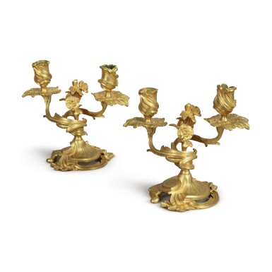 A PAIR OF LOUIS XV GILT BRONZE TWO-LIGHT CANDELABRA, MID-18TH CENTURY