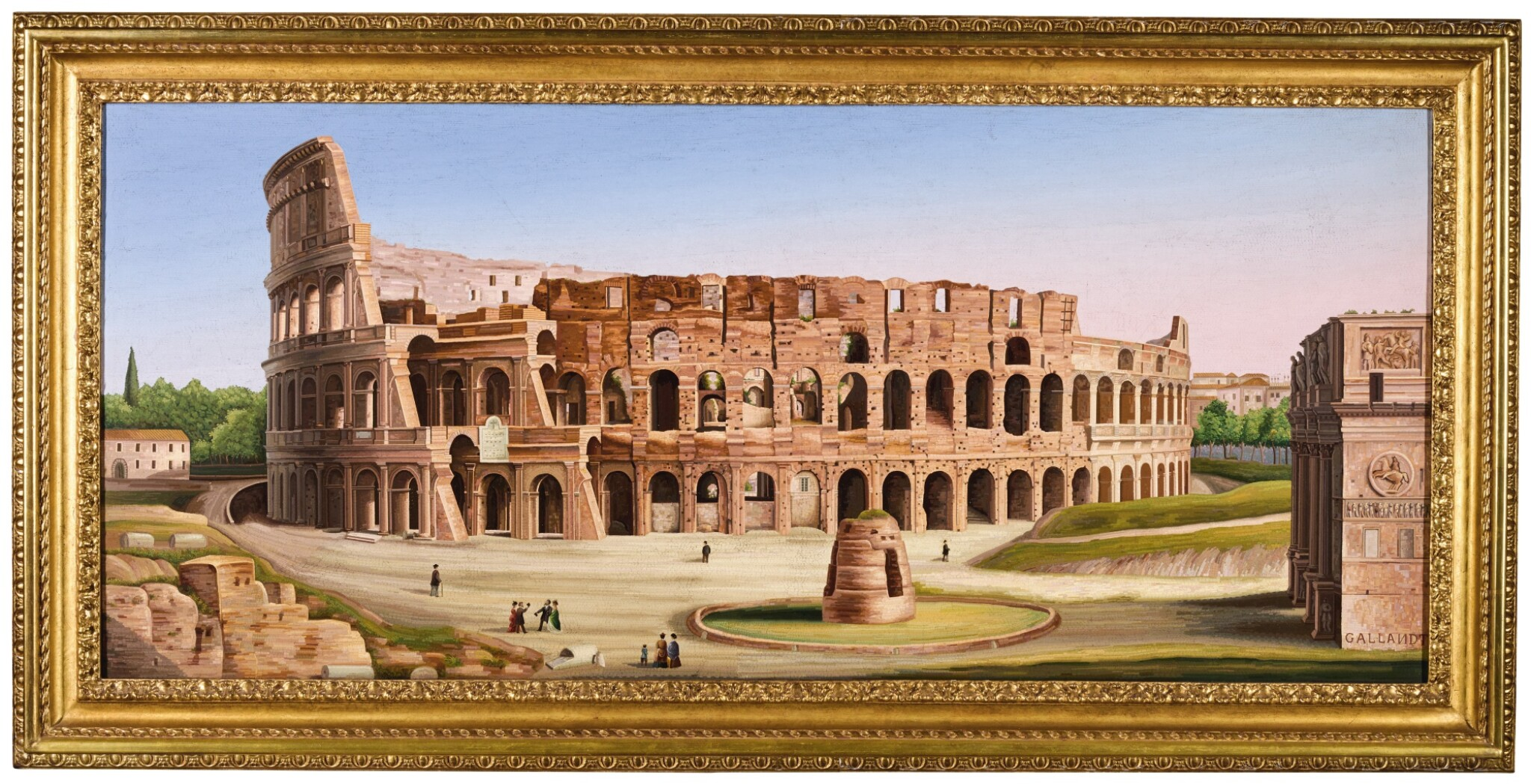 View full screen - View 1 of Lot 14. A LARGE SCALE ITALIAN MICROMOSAIC PANEL OF THE COLOSSEUM, ROME CIRCA 1850-75, LUIGI A. GALLANDT.