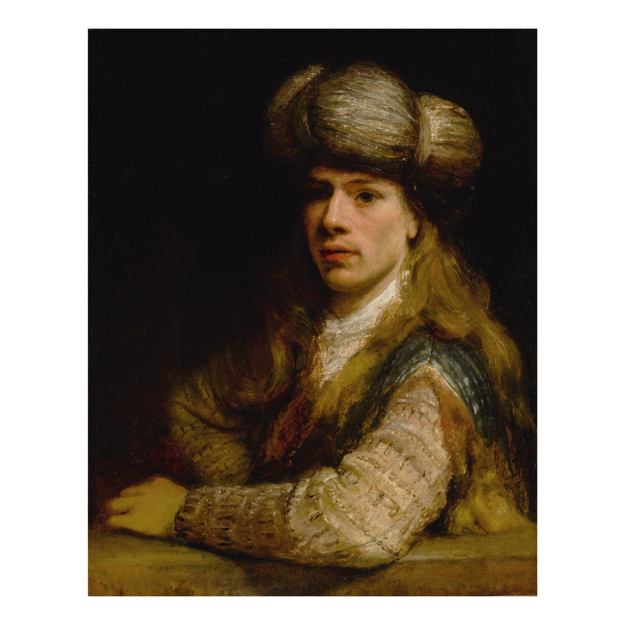 View full screen - View 1 of Lot 34. Portrait of a young man behind a balustrade, possibly a self-portrait of the artist.